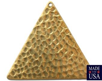 1 Hole Raw Brass Hammered Triangle Pendants 38mm (4) mtl297C