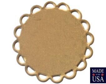 Raw Brass Lace Edge Round Flat Pad Settings 18mm (12) stn030A