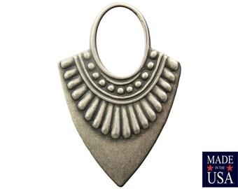 Matte Silver Ox Open Loop Teardrop Hoop Tribal Pendant (4) mtl403L