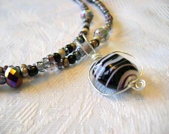 Zebra Stripes Pendant long beaded necklace
