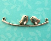 Silver Bird on Branch Charms - Set of 8 - Antique Silver 43mm Love Birds on Twig Pendants (SC0080)