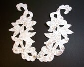 White Collar, White Satin Collar Appliques, Pearl and Sequin Beaded, Set of 2 Pieces