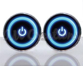 Round Glass Tile Cuff Links - Computer Power Button CIR135