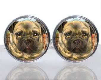 Round Glass Tile Cuff Links - Cute Pugs Dog CIR139