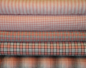 Homespun Fabric Fat Quarter Bundle Rose, Mocha And White Plaid Bundle Of 5