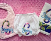 Baby Girl Gift Set Diaper cover, Infant Bib and Burpie
