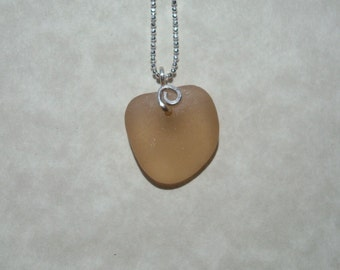 Rare Pink Heart Shaped Sea Glass Necklace -Sweet and Simple Sterling Silver Jewelry