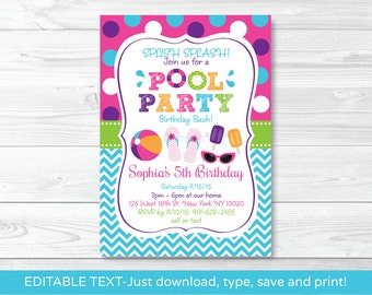 Girls Pool Party Invitation / Pool Party Invitation / Pool Party Invite / Summer Party / Girl Birthday / INSTANT DOWNLOAD Editable PDF