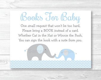 Blue Elephant Baby Shower Book Request Cards INSTANT DOWNLOAD A228