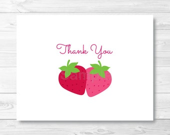 Cute Strawberry Thank You Card / Strawberry Birthday Party / Folded Card Template / PRINTABLE Instant Download