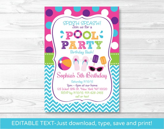 Girls Pool Party Invitation  Pool Party Invitation  Pool Party