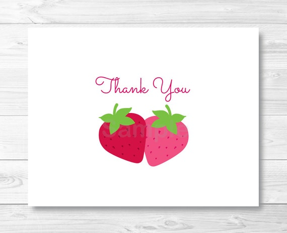 Cute Strawberry Thank You Card / Strawberry Birthday Party / Folded ...