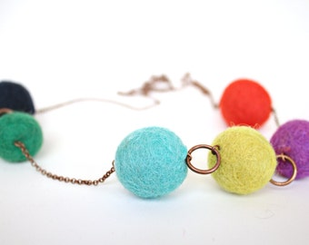 Asymmetrical Gum Ball Necklace Flirty Long Chain for Her Summer Fun Style Colorful Fun Jewelry Wool Felt Beads w Antiqued Copper Chain 30""