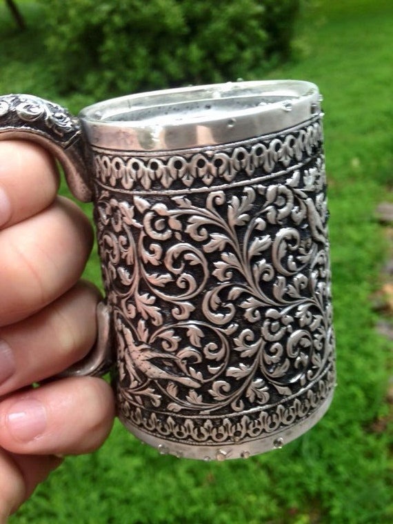 1880 Important Silver Kutch Mug Repousse Birds Sterling