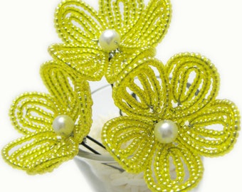 yellow beaded flower hair pins, French beaded flowers, brides, bridesmaids flower girls