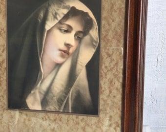 Antique George B. Petty Modern Madonna Tinted Photo Print - C. 1906 - Framed