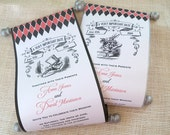 Alice in Wonderland wedding invitation scroll with White Rabbit or Mad Hatter set of 25