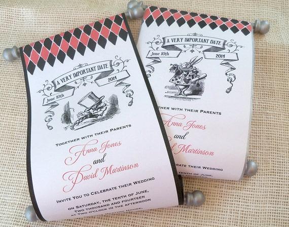 alice in wonderland wedding invitation scroll by artfulbeginnings, Wedding invitations