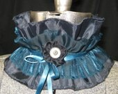 shabby ruffled choker teal black silver belly dance Tribal Gothic Steampunk Vampire rave all fabric
