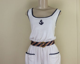 AHOY SAILOR, vintage 1980s White Terrycloth Romper, playsuit, short-shorts, jumper with Navy Blue Anchor - size medium