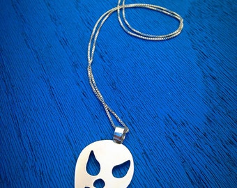 Lucha Libre Pendant - necklace Mexican Wrestler Mask Superhero For Him For Her Unisex Handmade Artisan Jewelry Sterling Silver