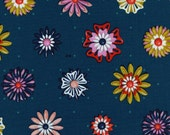 Picnic---Enamel Flowers in Teal---1 yard--Melody Miller for Cotton and Steel