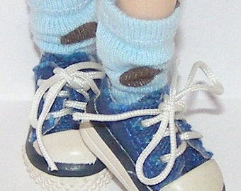 Short Baby Blue Socks with Brown Dots for Blythe...