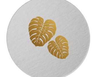Foil Coasters - Gold Foil Stamped - Palm Leaves- cocktail party - Tropical  - Hostess Gift - Palm Tree - Foil - set of 10 -