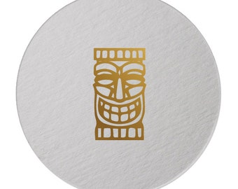 Foil Coasters - Gold Foil Stamped - Tiki Mask- cocktail party - Tropical - Polynesian  - Hostess Gift - Palm Tree - Foil - set of 10 -