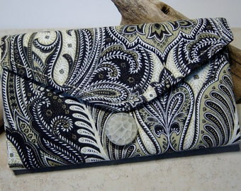 Travel Jewelry Organizer,Clear Pocket Organizer,Paisley Print Fabric Wallet,Lace Trimmed Pockets, Travel Gift, Jewelry Storage