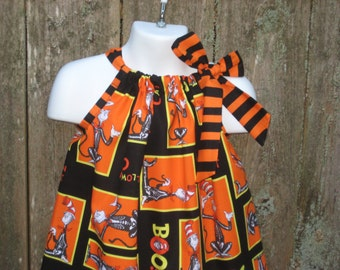 Halloween Cat in the Hat Orange and Black Pillowcase Dress, Sizes 3M  up to 7 years