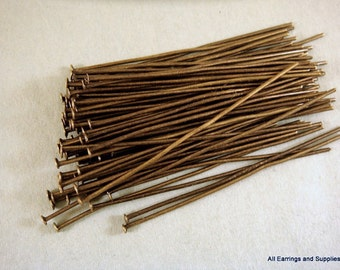 100 Bronze Headpins NF Antique Plated Iron 2 inch, 20-21 Gauge NF - 100 pc - F4001HP-AB2100