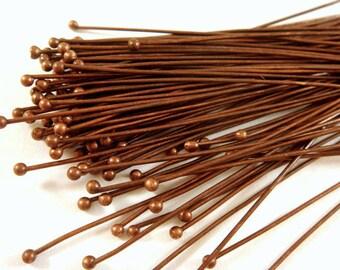 100 Antique Copper Ball Headpins Brass 2 inch (50mm), 22-24 Gauge 1.25/1.50mm Ball - 100 pc - F4028BHP-AC2100
