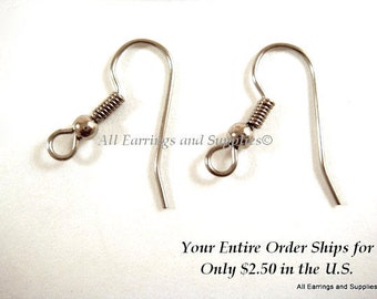 24 Stainless Steel Earwires Fishhook Ball and Coil 20mm 21 gauge Ear Wires - 24 pc - F4175EW-SS24
