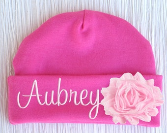 Personalized Baby Hat Flower Newborn Girl Monogrammed Name Cap Embroidered
