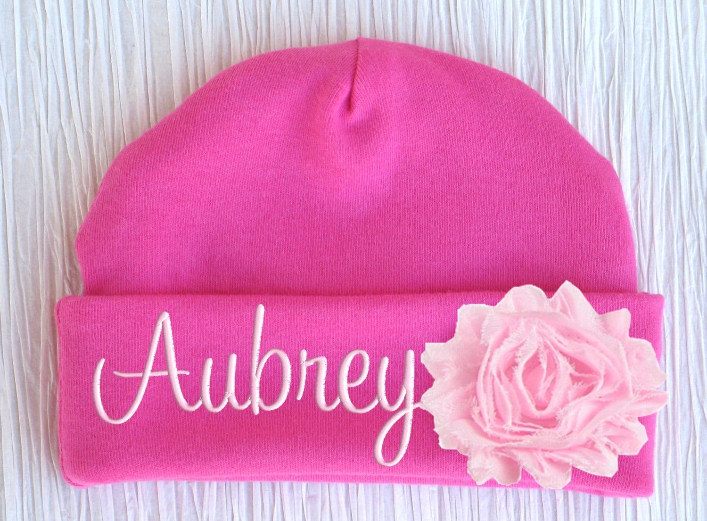 Personalized Baby Hat Flower Newborn Girl Monogrammed Name Cap