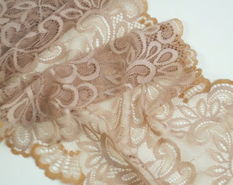 1Y Vintage Lace Rayon Champagne Beige 8 Inches Wide