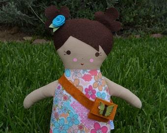 Big Sister Brown Hair Handmade Rag Doll - Customize name