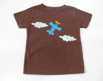 Baby's Airplane Shirt, Pilot TShirt, Plane Shirt, Cotton Summer Shirt,  Hand Painted, Hand Dyed Brown, Infants Tee or Top