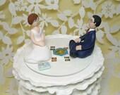 Custom Wedding Cake Topper - bride and groom gamer  catan board game nova nation nurse doctor and cat samples