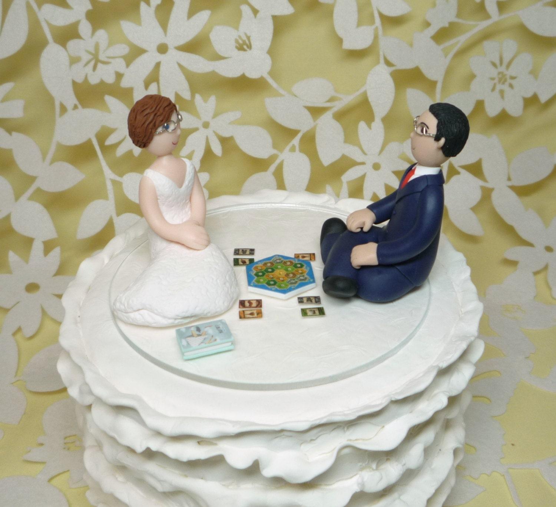 Custom Wedding Cake Topper Bride And Groom Gamer Catan