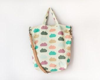 Crossbody Convertible Bag / Canvas Bag / Tote Bag - multicloud
