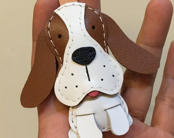 Small size - Josie the Basset Hound cowhide leather charm ( Brown )