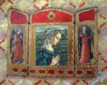 Antique Vintage Florentine Gesso Italy Italian Small Wooden Madonna Triptych Wall Hanging Red Gold Gilt