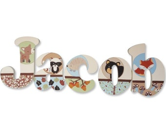 M2M Carter's Forest Friends Animal Woodsy Custom Hand Painted Letters Wooden Wall Letters Hanging Baby Name Letters Nursery Decor Wall