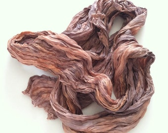 Peach Blush Silk Scarf / Hand Dyed Silk Scarf / Fiber Art / OOAK / Textured Silks Collection