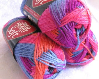 Red Heart Soft yarn, BOHEMIAN, bright pink orange blue mauve rainbow, worsted weight yarn