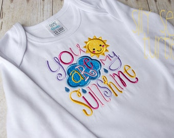 You are my Sunshine in pinks, Baby girl, Girl coming home outfit, Embroidered Baby bodysuit