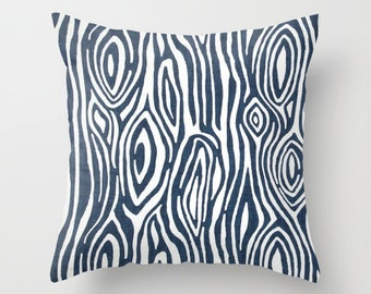 Tree Pillow Cover Navy Pillow Woodgrain Pillow Throw Pillow Accent Pillow Size Choice