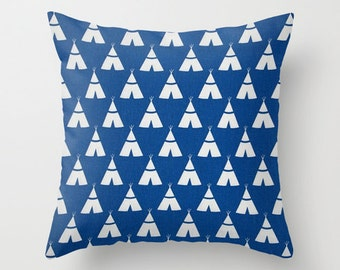Teepee Pillow Cover Blue Pillow cover Tribal Pillow Accent Pillow Native American Pillow Size Choice